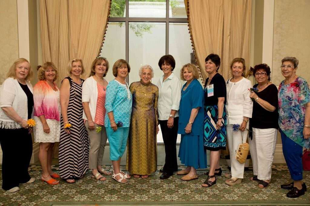 (l to r) Marcia Weiss, Debby Kohn, Susan Isaacs, Esther Friedberg, Gail Simpson, Chellie Goldwater Wilensky, Ivy Liebross, Susan Brownstein, Jan Gurvitch, Doris Katz, Hilary Botchin, Raena Zucker